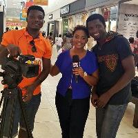 Kobina Amissah-Sam (right) with MzGee and a cameraman