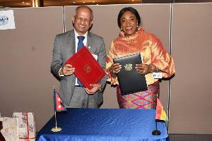 Foreign Affairs Minister, Shirley Ayorkor Botchwey and Pradeep Kumar Gyawali
