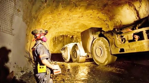 File photo a worker at the Wassa Mine