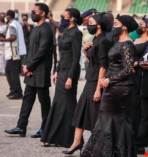 Children of former President Rawlings, Zanetor, Yaa Asantewaa, Amina and Kimathi during the funeral