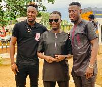 Afriyie Acquah with his agent Oliver Arthur and striker Richmond Boakye-Yiadom