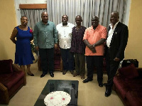 Former  President John Dramani Mahama with Koku Anyidoho, others at the CID headquarters