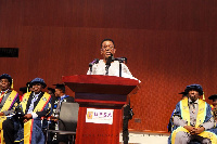 Prof Kwesi Yankah speaking at the event