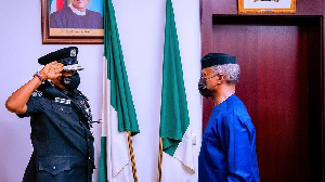 Osinbajo don decorate DIG Usman Alkali Baba as di new acting Inspector General on Wednesday
