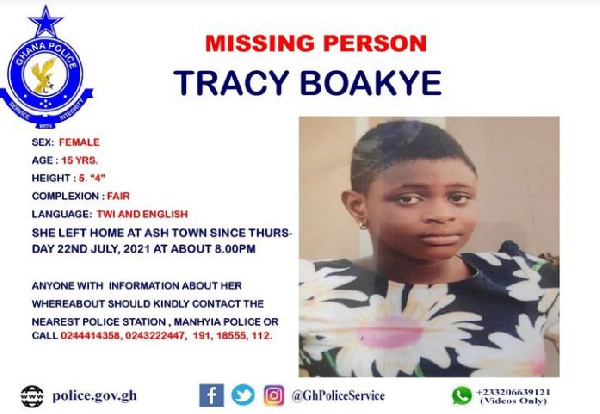 A photo of missing 15-year-old Tracy Boakye