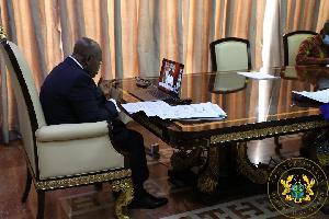 President Akufo-Addo during virtual ECOWAS Extraordinary Summit