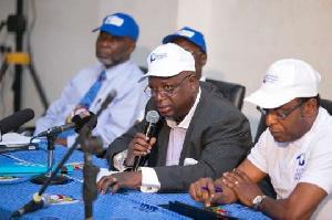 Prof. Kwame Boasiako-Omane (middle) addressing the press