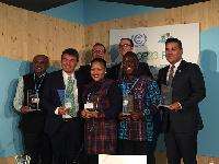 Hassan Tampuli (second right) with other awardees at the Climate Change Summit