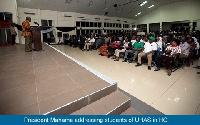 President John Dramani Mahama at the University of Health and Allied Sciences, Trafalgar Hall