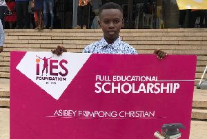 Asibey Frimpong Christian has been awarded a scholarship