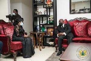 President Akufo-Addo visited Nana Konadu Agyeman-Rawlings to commiserate with the family