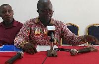 Michael Adumatta Nyantakyi speaking at the press conference yesterday