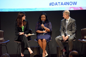 Chief Executive of Vodafone Ghana, Patricia Obo-Nai [C] speaking at the 'Data for Now' forum