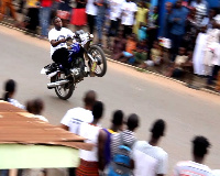 Motorcycle stunt at New Fadama