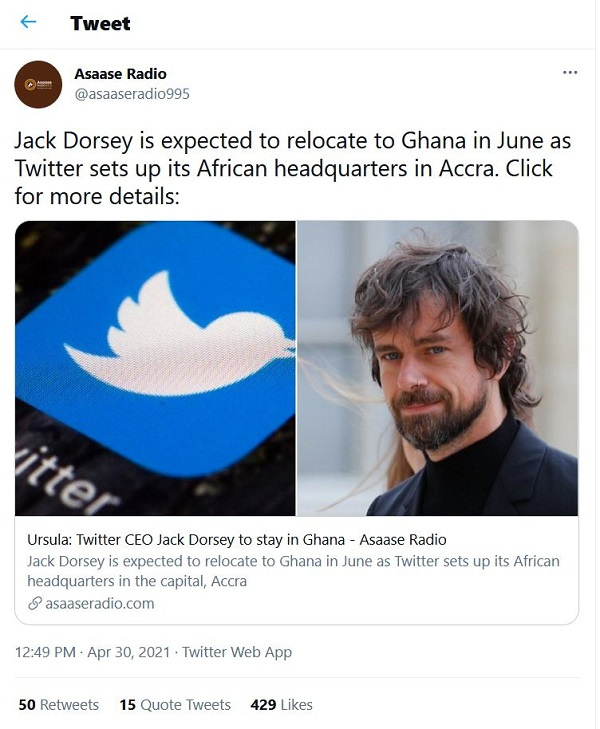 No plans to relocate to Ghana yet – Jack Dorsey. 10
