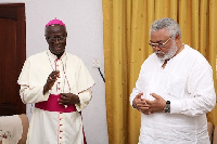 Rawlings and Rev Kwofie at his residence
