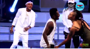 Shatta Wale and Michy on stage at #GhanaMeetsNaija