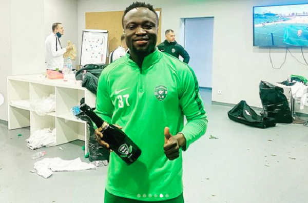 Ghana forward Bernard Tekpetey reacts to Ludogorets  derby win over CSKA Sofia