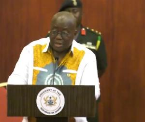 President Akufo-Addo addressing the media