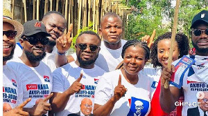 Lydia Alhassan, Member of Parliament for Ayawaso West Wuogon pose with some actors