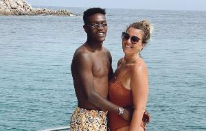 Emmanuel Gyasi with his Italian girlfriend