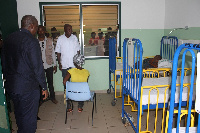 President Mahama inspecting the facilities at the hospital