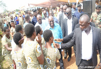 President Akufo-Addo with some SHS students