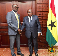 President Akufo-Addo welcoming Kurt Okraku to the Jubilee House