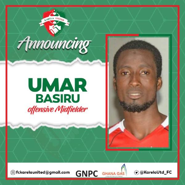 Karela United make ex-Kotoko midfielder Umar Basiru sixth signing