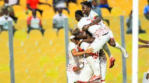 Asante Kotoko SC players jubilate after victory