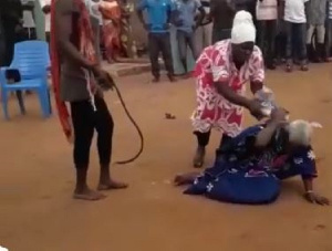 One of the younger women hit her head with a heavy item