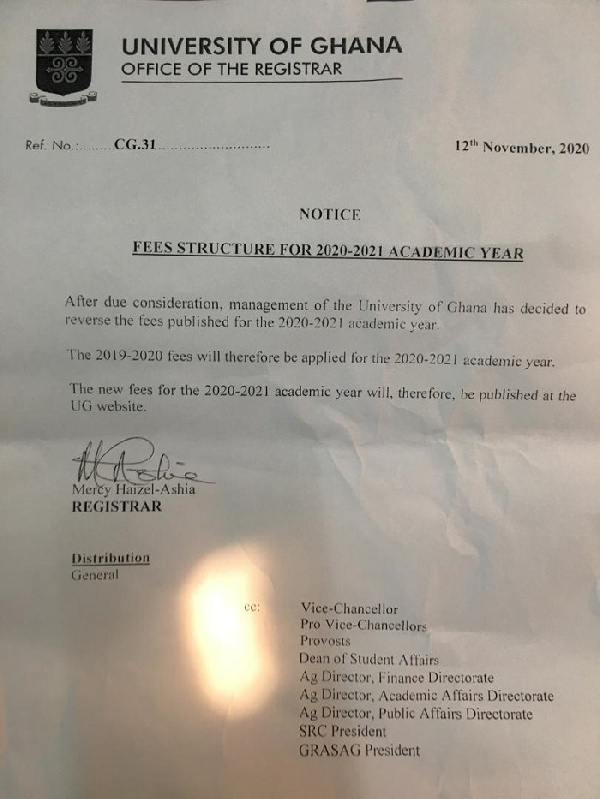 UG reduces fees for 2020/21 academic year 1