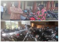 Emmanuel Atta Ofori presenting motorbikes to Assembly Members