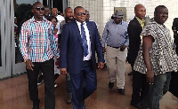 Hassan Ayariga with others leaving the court premises