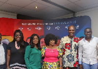 Ohemaa Mercy [in green] with her management, others at the launch of Tehillah Experience