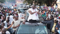 Dr. Bawumia responding to cheers from NPP sympathizers