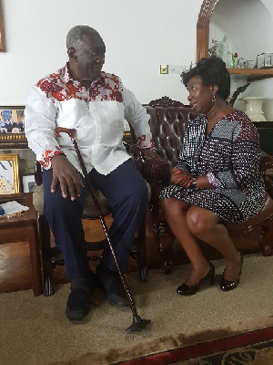 Mary Posch Oduro (R) With Former President J.A. Kufuor