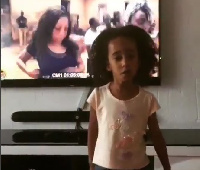 The little cutie did not just remember the moves, she nailed it