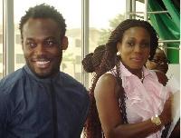 Michael Essien with wife, Akosua Puni