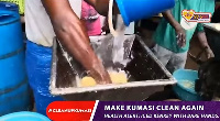 Iced Kenkey made with bare hands