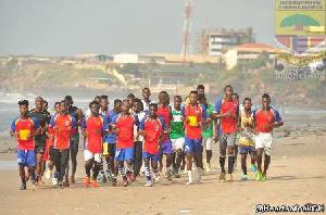 Hearts of Oak players on pre-season training