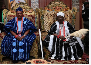 President John Mahama (left) installed chief in Kwara State, Nigeria