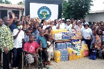 A photo taken during the donation by the Norvienyo Association