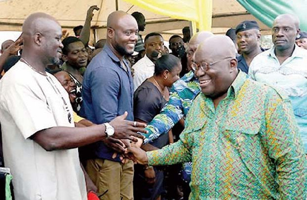 President Akufo-Addo exchanges pleasantries with some residents of the Adentan Municipal Area