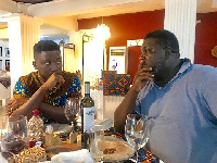 Kwame A Plus (left), Vice President and stakeholder of A1 Bakeries Edward Nana Poku (Hammer)