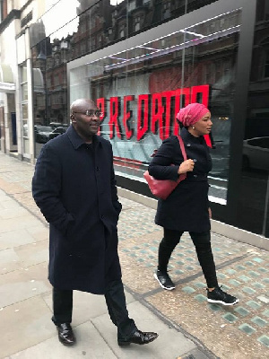 Bawumia is seen in the video with his wife on the streets of London