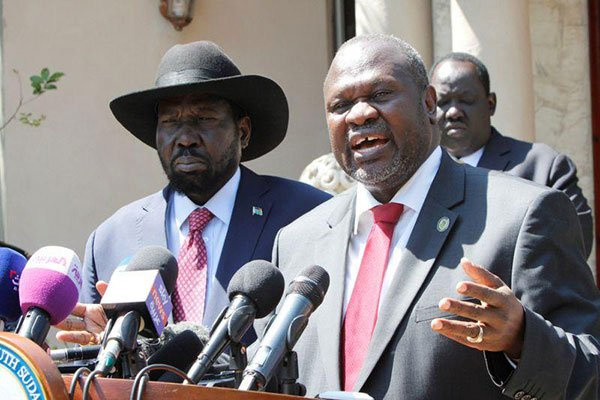 South Sudan former vice president Riek Machar speaks during a press conference with President Salva
