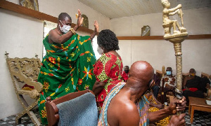 Professor Opoku Agyemang called on the Paramount Chief of Komenda Traditional Area