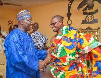 Vice President, Dr. Mahamudu Bawumia exchanges handshake with Chief of Prestea-Heman