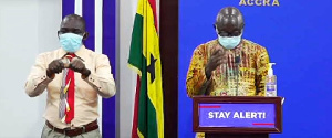 Minister for Works and Housing, Samuel Atta Akyea addressing reporters